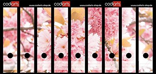 Set 9 Stück Ordner-Etiketten selbstklebend Ordnerrücken Sticker Rosa Blütenbaum