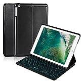 EC Technology iPad 2017/2018 / Air 2 /Air Tastatur, iPad 9,7 Hülle mit Tastatur, Ultra-dünne Leichtgewicht Bluetooth Tastatur mit 7-Farbiger Hintergrundbeleuchtung & Smart Cover