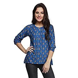7aa6617b839329 17%off PRINTEMPS Stylish Latest Casual Printed Blue Designer Top for Womens    Girls