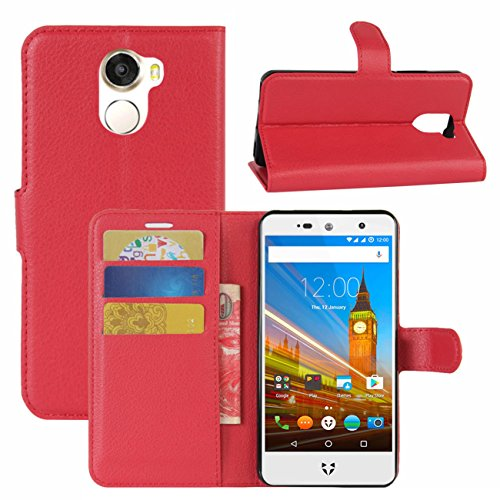 HualuBro Wileyfox Swift 2 X Hülle, Leder Brieftasche Etui LederHülle Tasche Schutzhülle HandyHülle [Standfunktion] Handytasche Leather Wallet Flip Case Cover für Wileyfox Swift 2X (Rot)