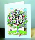80 Geburtstag Laser Cut Karte 3D Geburtstagskarte Blumen Lebensbaum 16x11cm