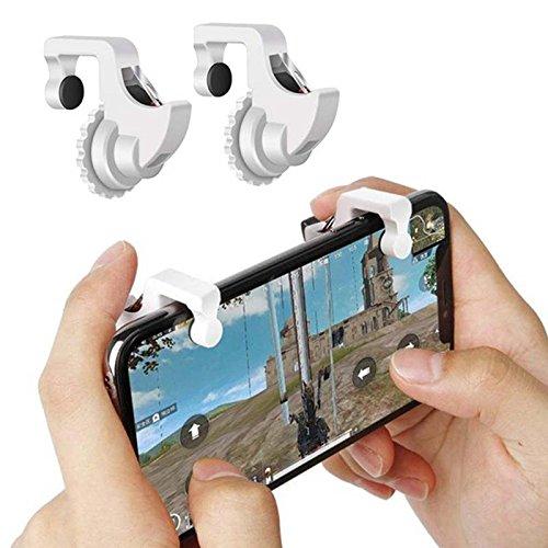 Taste Zusatztaste Phone Gamepad Handle Bracket Grip Halter PUBG Mobile Handy Spiel Controller Soot Trigger, Weiss ()