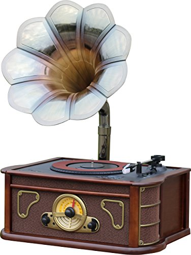Majestic TT 45 CD MP3 USB SD AX - Giradischi vintage tromba di grammofono, lettore CD/MP3, radio, ingressi USB/SD, registra vinili in mp3, Legno