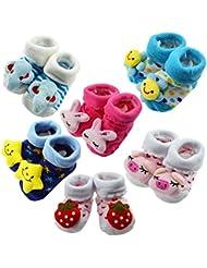 Happy Cherry - (6 pares) Zapatos Calcetines Zapatillas de Animales para Bebés niños primeros años Aprender caminar