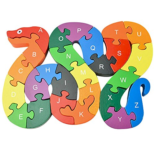 Sunsoar Children Toys Puzzle 26 English alphanumeric Lovely Snake Puzzle Toy Birthday Chriamas New Year Gift Puzzle Education Learning