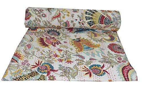 Kiara, indische Baumwolle Quilt- und coverlets, Paisley-Muster, Überwurf, Tagesdecke, Doppelbettgröße, Kreuzstich, Queen-Size, Baumwolle, Daisy White, Twin -