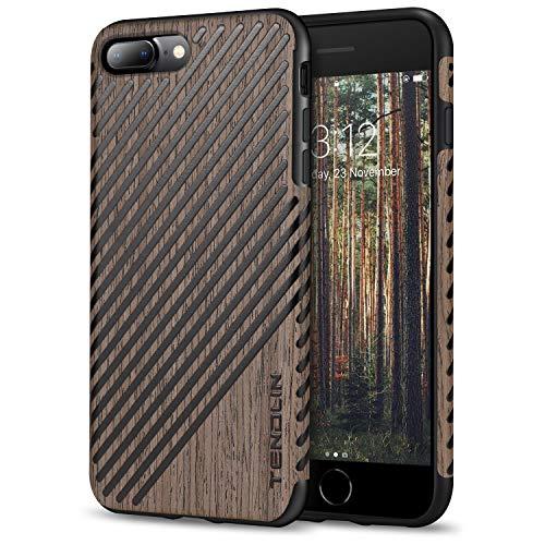 TENDLIN für iPhone 7 Plus Hülle/iPhone 8 Plus Hülle Holz und Leder Flexiblem TPU Silikon Hybrid Weiche Schutzhülle Kompatibel mit iPhone 7 Plus und iPhone 8 Plus (Schwarz Palisander & Leder) - Leder Holz