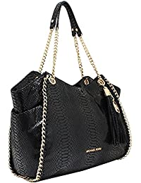 Michael Kors Chelsea Large Black Python Snake Embossed Leather Tote Shoulder Bag