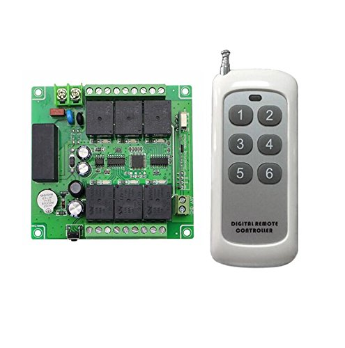 Lejin 6 Kanal 230VAC Funk-Empfänger Funkfernsteuerung kabellose Fernbedienung Funksteuerung Garagentore Controller 10A 433MHz
