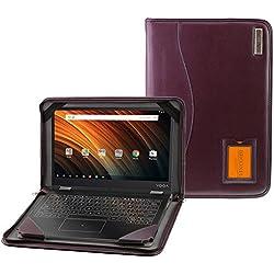 """Navitech Étui en cuir véritable pour ordinateur portable, Cuir, Purple Leather, Toshiba Chromebook 2 13.3"""""""