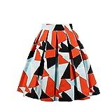 1950er Retro Frauen A Linie Ballkleid Dreieck Geometrischer Druck Muster Print Hohe Taille Plissee Skater Knielang Midi Röcke Kariert Faltenröcke(XXL)