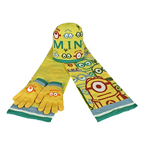 Minions 2200000353 - Set de 3 piezas con bufanda, gorro y guantes para niños, color marino, talla única