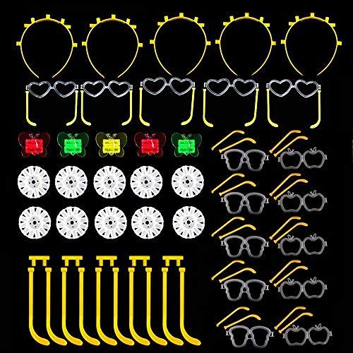 Simuer Knicklichter Verbindungen Glow Sticks Connectors,Kreisverbinder, 7-Loch-Verbinder, für Brillen, Dreifach Armbänder, ein Stirnband, Ohrringe, Blumen, ein Leuchtball und vieles mehr mit 35 Pack Verbindungen