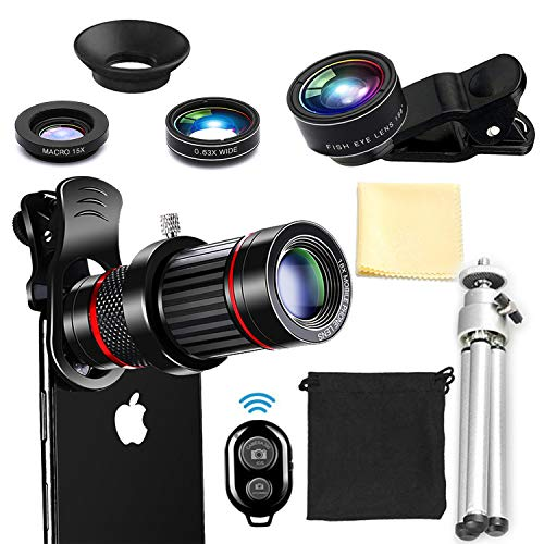 Handy Kamera Objektiv Kit, 6 in 1 Universal 18X Zoom Teleobjektiv + 0,63x Weitwinkel &15X Makro + 198° Fisheye mit Remote Shutter Mini-Stativ für iPhone X/8/7/6/6S Plus Samsung Android und Telefon (Iphone 6 Plus-kamera-objektiv)