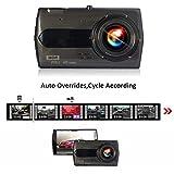 Autokamera Dashcam FHD 1080P Video Recorder Bildschirm mit 4 Zoll Bildschirm Touchscreen 140 Gard Weitwinkel G-Sensor Bewegungserkennung Dual Kamera Metallgehäuse
