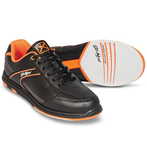 EMAX KR Strikeforce Flyer Bowling-Schuhe Damen und Herren, für Rechts- und Linkshänder in 4 Farben Schuhgröße 38-48 wahlweise mit Schuh-Deo Titania Foot Care (Orange ohne Spray, US 9,5 (42))