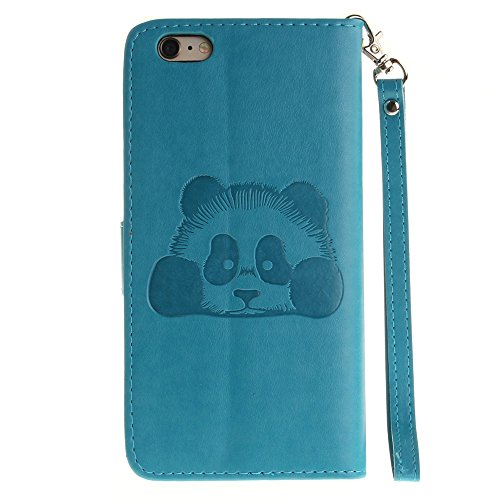 iPhone Case Cover Solid Color 3D Cute Panda Embossed Housse en cuir PU avec Lanyand Card Slots pour IPhone 6 6S ( Color : 4 , Size : IPhone 6 6S ) 2