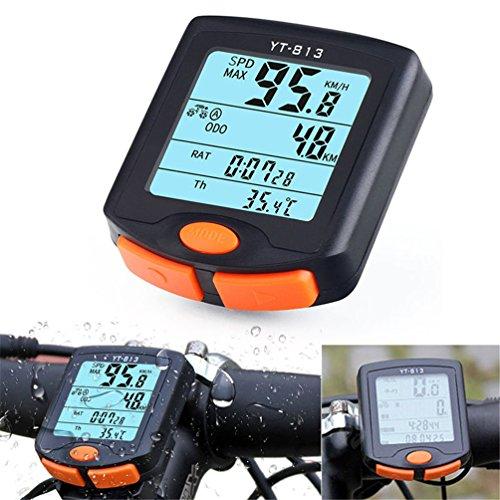 rungao Fahrrad Tacho Kilometerzähler Temperatur Display (Fahrenheit/Celsius) Drahtlose Datenübertragung Wasserdicht Multi-Funktion Fahrrad Computer mit digitaler LCD-Anzeige