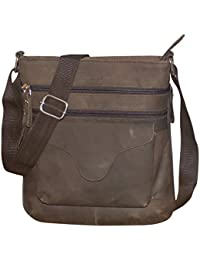 Style98 100% Hunter Leather Handmade Stitched Unisex Sling Bag For Men,Women,Boys & Girls