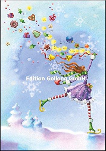 Weihnachtskarte Nina Chen * Frau auf Schlittschuhen * Glitzer