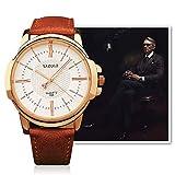 Xiaochou@sl Xiaochou@sl Fashion Business Herren Wasserdichte Lederband Quarzuhr Mode (Farbe : Braun)
