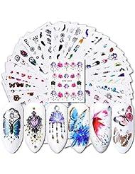 Oce180anYLV 40 pezzi Watermark Slider Nail Art Adesivi Fiore Farfalla Decor Manicure Decal