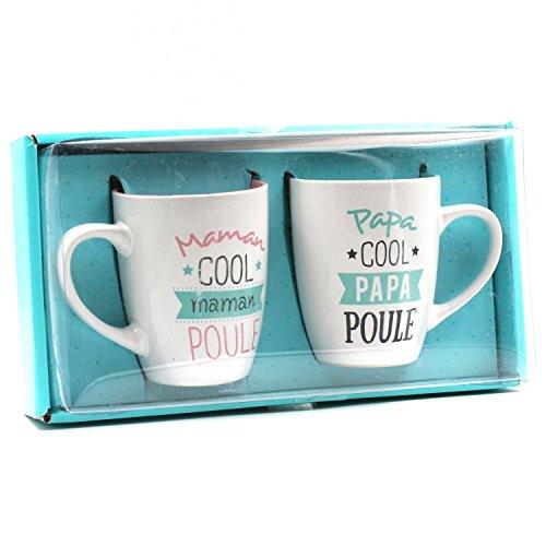 Coffret de 2 mugs papa poule et maman poule