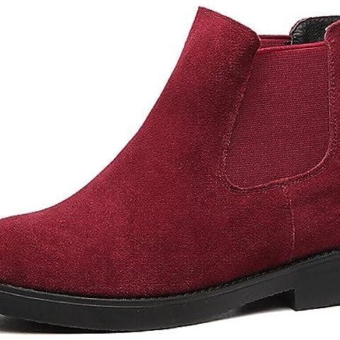 Botas de mujer de Primavera / otoño / invierno botas de combate Suede Office & Carrera / Casual Chunky talón Slip-on negro / rojo,rojo,US6.5-7 / UE37 / UK4,5-5 /