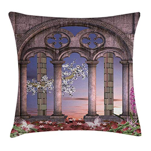 Secret Lace Orange Flower (K0k2t0 Gothic House Decor Throw Pillow Cushion Cover, Ancient Secret Garden with Flowers at Sunset Enchanted Forest, Decorative Square Accent Pillow Case, 18 X 18 inches, Grey Blue Lilac Red)