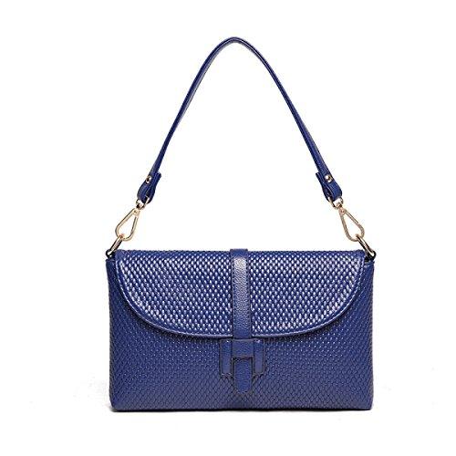 ZPFME Handtaschen Der Frauen Handtasche Einfach Kollokation Schulterbeutel Mädchen Partei Retro Damen Art Und Weise Diagonales Paket Damebeutel Blue