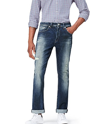 Wash Tapered Leg Jeans (FIND Jeans Herren, Blau (Hardin Damaged Wash), W32/L32 (Herstellergröße: 32))