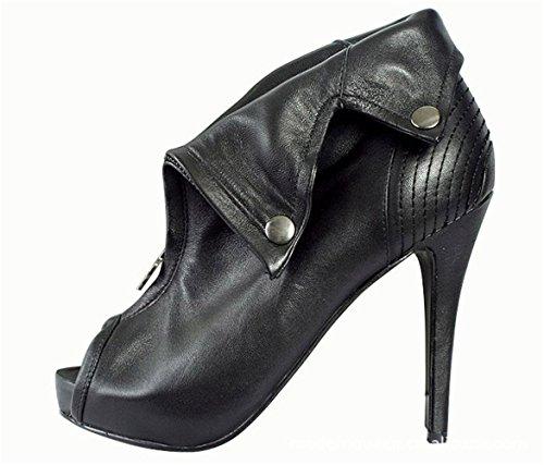 Shoemaker's heart High-Heeled Sexy scarpe nuove di pelle di pecora nera cranio pesce chiusura a cerniera anteriore sexy tacchi alti Forty-one
