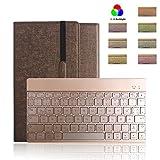 Boriyuan Ipad Pro 9.7 Bluetooth Tastatur Hülle Case Keyboard , PU Leder Tasche Smart Cover mit Tastatur (Deutsch Qwertz , aus Alu, abnehmbar ) für Ipad Pro 9,7 Zoll, unterstützten 7 farbige Hintergrundbeleuchtung /Standfunktion / Auto Wake up Sleep (Farbe: Braun)