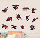 Diy 11 Pose Spiderman Stickers Muraux Décoratifs Pour La Pépinière Enfants Décorations De Chambre Pvc Super Héros Décor Papier Peint Maison Stickers 60X30Cm...