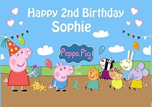 Peppa Pig et George Décoration pour gâteau personnalisée Glaçage Sucre Papier A4 image 11