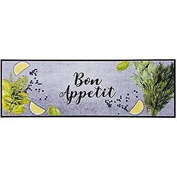 Teppich Boss K/üchenl/äufer Bon Appetit grau gelb 50x150 cm waschbar rutschfest