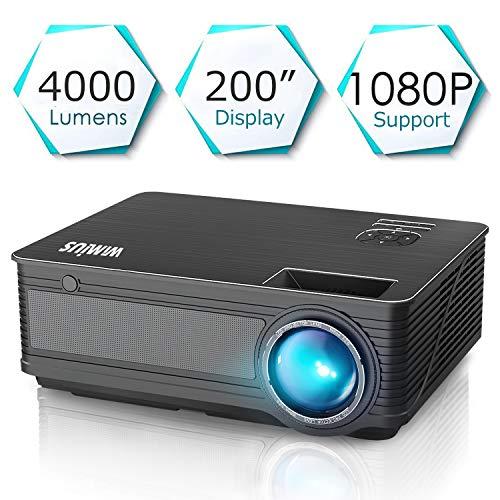 """Proyectores, WiMiUS P18 4000 Lúmenes 5.8"""" LCD Proyector de Video con 200"""" Pantalla, Soporta Full HD 1080P, Contraste 4000:1, 50000 Horas, con el Interfaz HDMI/ USB/ VGA/ AV/ TF para Conectar Tablets/ TV Stick/ Disco Duro/ PS4/ Xbox, con Cable HDMI y AV Negro (2018 Nueva Versión)"""