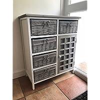 Home Delights Grey Vintage Hallway Cabinet Chest of Drawers Storage Cupboard Unit Wicker Baskets