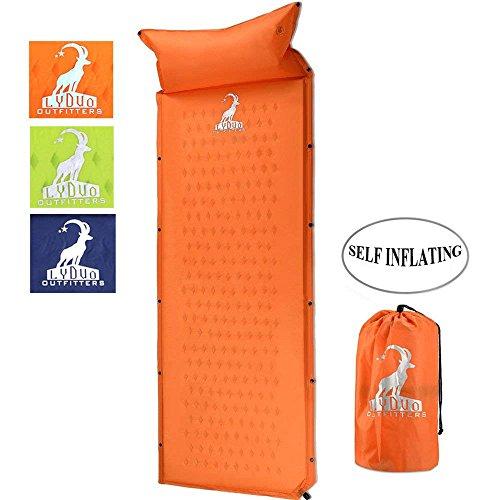 Materasso da campeggio gonfiabile materassino leggero campeggio pad con cuscino auto paddling pad mat outdoor portatile impermeabile sleeping pad per tende viaggiare, campeggio, escursionis, arancione