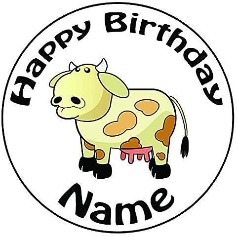 Personalisierter Cartoon Kuh Zuckerguss Kuchen Topper / Kuchendekoration - 20 cm Großer Kreis - Jeder Name Und Jedes Alter