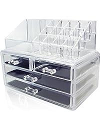 Amzdeal Rangement Maquillage Vanity case Coffrets Bijoux Présentoire Cosmétiques Quatre Tiroirs Boîte de Rangement Case à 3 Étage (16 emplacements - Acrylique transparent)