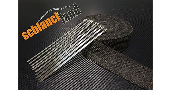 10 Kabelbinder***Heat Wrap 15m Keramik Hitzeschutzband 50mm schwarz 1200°C