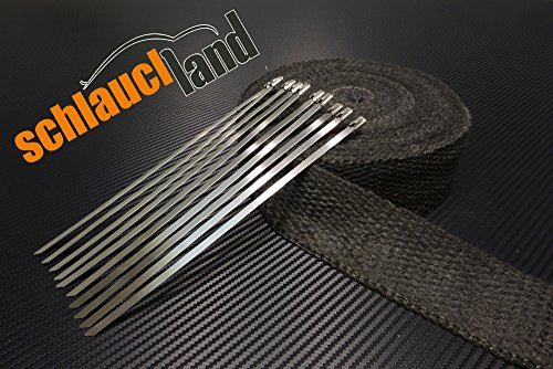 Preisvergleich Produktbild 5m Keramik Hitzeschutzband 50mm schwarz 1200°C + 10 Kabelbinder *** Heat Wrap Auspuff Hitzeschutz Krümmer Isolierband Wärmeschutz