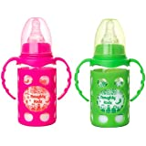 Naughty Kidz Premium Borosilicate Handy Glass Bottle With Ultrasoft LSR Nipple||Silicone Bottle Warmer||Easy To Hold Handle||Key TEETHER||Hood Retaining Cap And Sealing DISC Ring (Pink+Green)