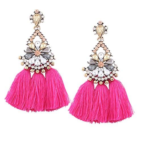 Xmansky Mode elegant Bohemien Kristall Strass Lange Quastenfransen Baumeln Ohrringe Schmuck (Pink)