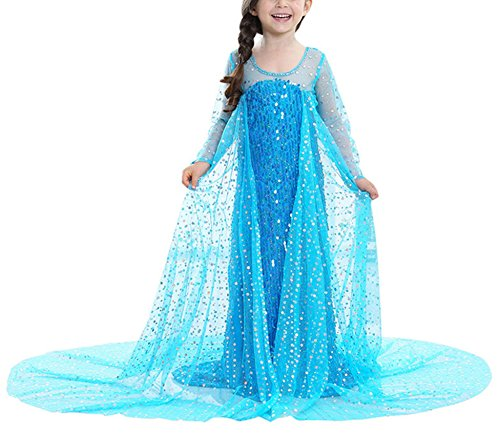 Beunique@ Eiskönigin Prinzessin Kostüm Kinder Glanz Kleid Mädchen Weihnachten Verkleidung Karneval Party Halloween Fest Cosplay (Kostüm Anime Mieten Cosplay)