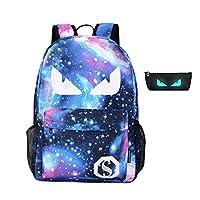 TMEOG School Bags, Anime Luminous Backpack Canvas Shoulder Daypack Boy Rucksack with Pencil Bag for Teens Girls Boys (30cm x 14cm x 45cm, B)