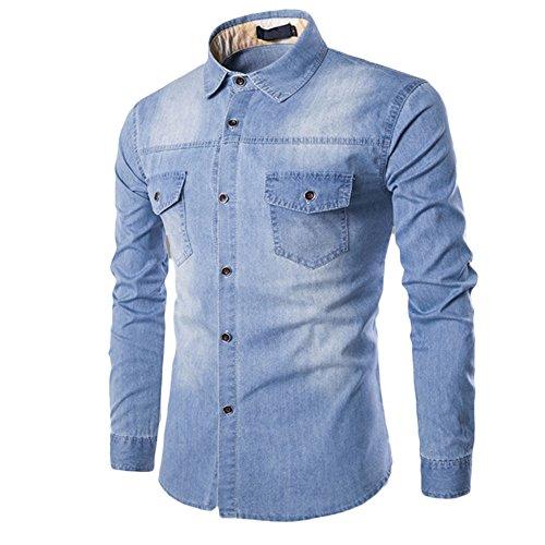 Makefortune Männer Casual Button Down Denim Shirts Langarm Hemd Slim Fit mit Tasche 3 Farben (Shirt Taschen Casual Männer)
