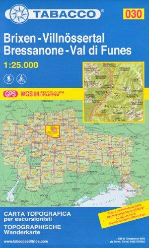 30 Brixen – Villnössertal, Bressanone – Val di Funes, 1:25.000 randonnée topographique, le cyclisme et le ski de randonnée carte (Dolomites, Alpes)