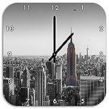 traumhafte Empire State Building schwarz/weiß, Wanduhr Quadratisch Durchmesser 48cm mit schwarzen spitzen Zeigern und Ziffernblatt, Dekoartikel, Designuhr, Aluverbund sehr schön für Wohnzimmer, Kinderzimmer, Arbeitszimmer